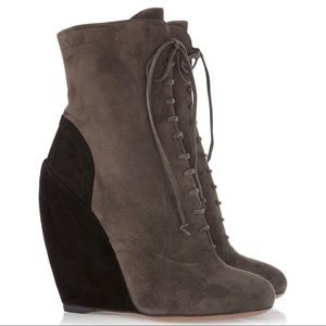 Alaïa two tone suede lace up wedge ankle booties